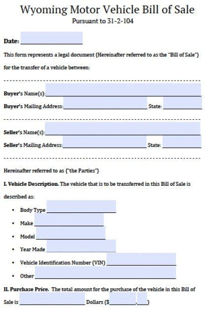 wyoming motor vehicle bill  sale form  word