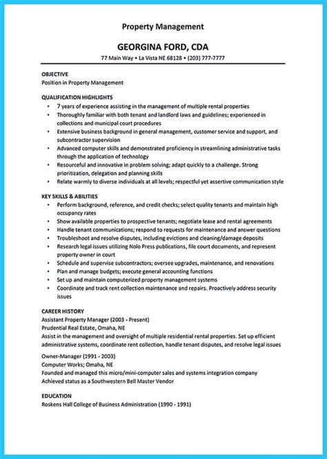 Property Maintenance Description For Resume by There Are Several Parts To Write Your Assistant Property