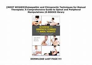 New Releases Osteopathic And Chiropractic Techniques For
