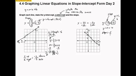 4 4 graphing linear equations in slope intercept form day 2 youtube