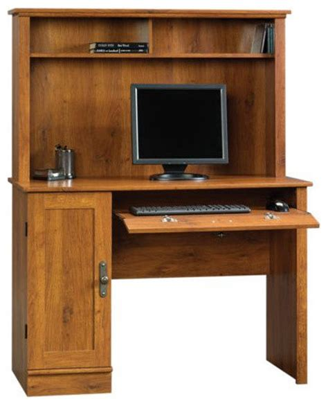 sauder harvest mill computer desk with hutch abbey oak