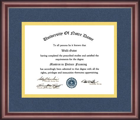 university  notre dame diploma frame talking walls