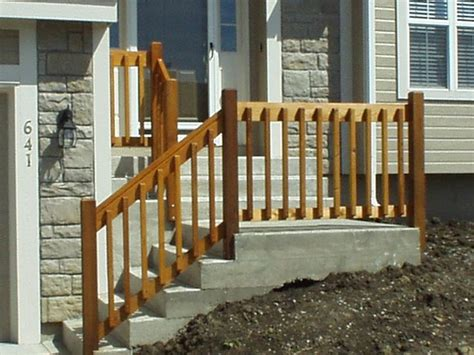 diy wooden porch handrail ideas wood railing  concreate steps home improvement ideas