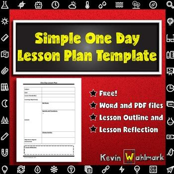 simple  day lesson plan template  kevin wahlmark tpt