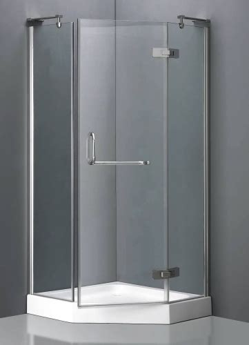 aluminum frame neo angle shower enclosure  hinged door