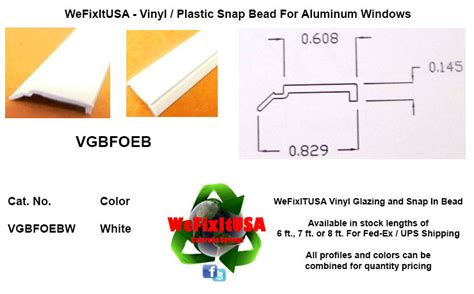 glazing bead aluminum vinyl wood windows doors vgbfoeb biltbest window parts