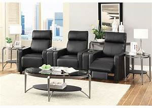 stack furniture toohey black 3 seat theater seating With coaster furniture home theater seating