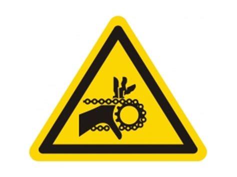 caution sign warning  hand injury  chain drive