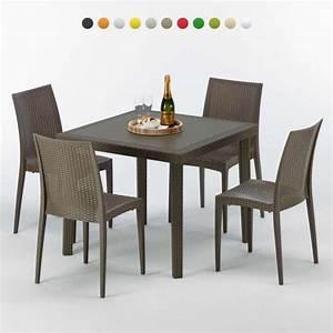 Tisch Mit 4 Stühlen : poly rattan tisch quadratisch mit 4 bunten st hlen 90x90 braun brown passion ~ Frokenaadalensverden.com Haus und Dekorationen