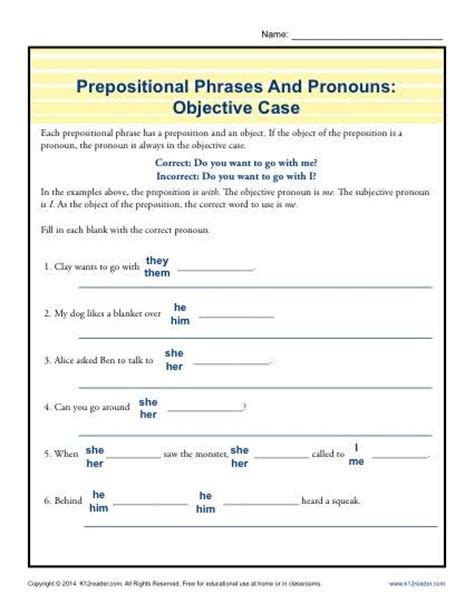 prepositional phrases and pronouns objective