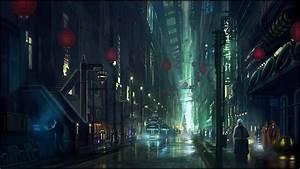Cyberpunk city street wallpaper #14731