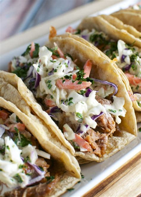 barbecue pork tacos  honey mustard slaw stuck  sweet