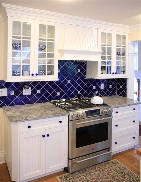 blue kitchen backsplash cobalt blue backsplash kitchen contemporary with bold color black granite countertop white cabinets