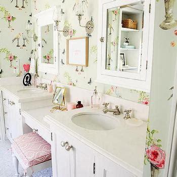 shabby chic bathroom wallpaper kids bathroom with drop down vanity