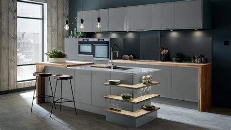 greenwich gloss slate grey kitchen fitted kitchens howdens
