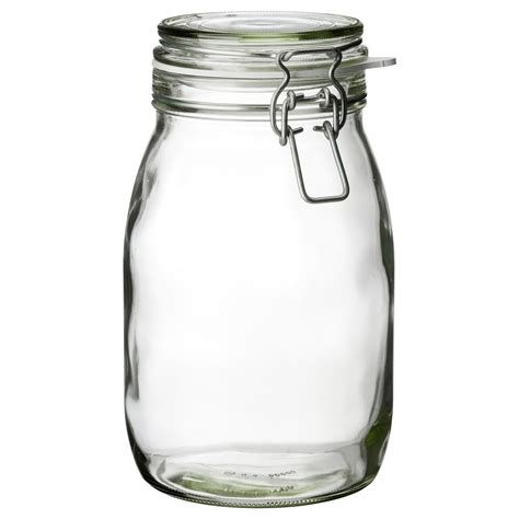 storage container with lid korken jar with lid clear glass 1 8 l ikea