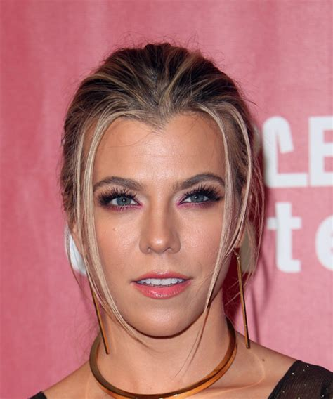 kimberly perry long straight casual updo hairstyle dark