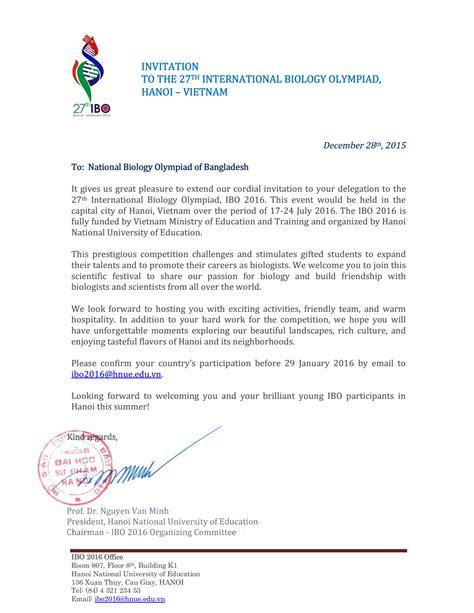 invitation letter  ibo bangladesh biology olympiad