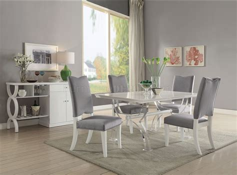 martinus white high gloss dining table   acme woptions