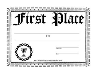 1st Place Certificate Template Free by 1st Place Certificates Template 1st Place Certificate 6