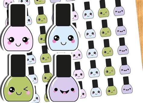 kawaii nail polish planner stickers printable cut