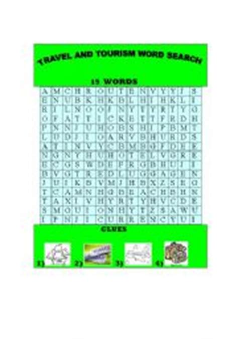 english worksheet travel and tourism word search
