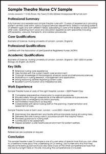 curriculum vitae resume sles for nurses sle theatre cv sle myperfectcv