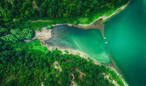 aerial top view  lake  mountain forest beautiful panorama dronestagram