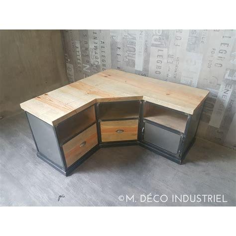 cuisine haute gamme meuble tv d 39 angle industriel en acier et pin massif vieilli m déco industriel