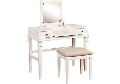 Messana White Vanity, Mirror And Stool Set