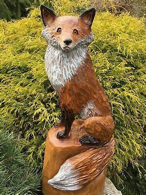 RED FOX Chainsaw Carving RED OAK WOOD Sculptures Dog ...