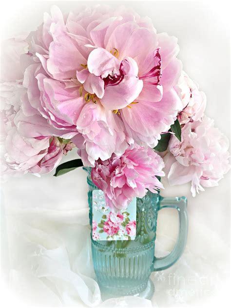 shabby chic aqua shabby chic cottage pink peonies peony flower print