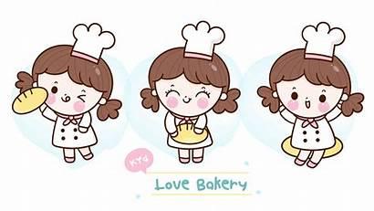 Bakery Baker Kawaii Cartoon Chef Cafe Girly