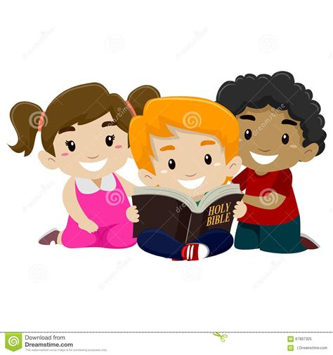children reading bible stock vector illustration  good