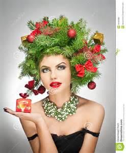 beautiful creative xmas makeup and hair style indoor shoot beauty fashion model girl winter
