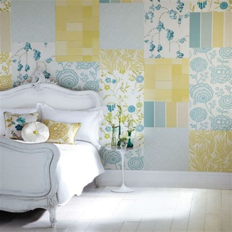create  patchwork feature wall bedroom wallpaper ideas