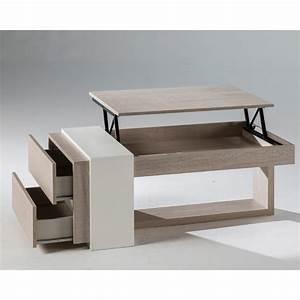 Table Basse Relevable Chne Clair 2 Tiroirs ESTEBAN