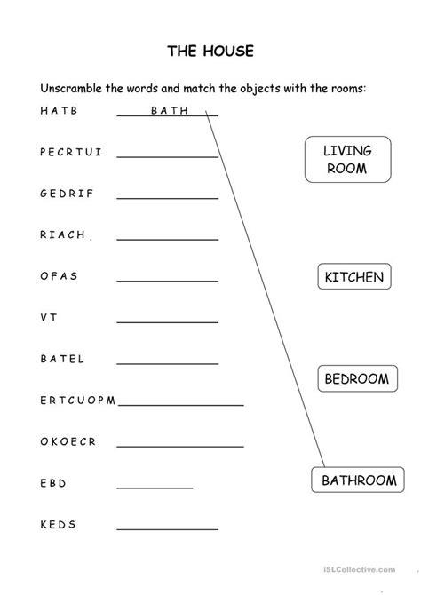 house objects  rooms worksheet  esl printable