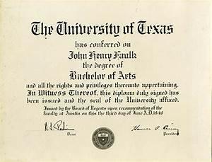 [John Henry Faulk's Bachelor of Arts diploma from the ...