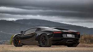 mountains clouds cars lamborghini aventador black cars ...