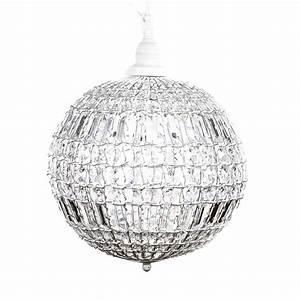 Lampe Mit Kristallen : kugellampe cristal wei mit kristallen kugelleuchte h ngelampe kugel ~ Orissabook.com Haus und Dekorationen