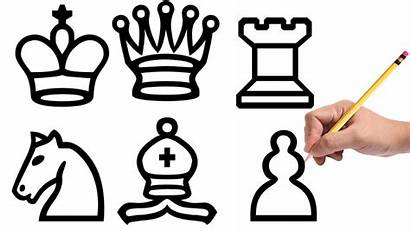 Chess Drawing Draw Pieces Easy Queen King