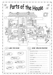 english exercises parts   house