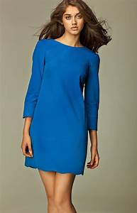 three quarter sleeve short royal blue dress nis28n With robe manche trois quart