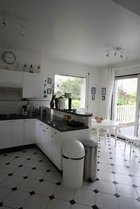 Cuisine carrelage noir et blanc for Decoration pour jardin exterieur 5 cuisine quartz noir