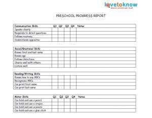 printable preschool progress reports school days