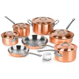 mauviel mm brushed copper cookware set  piece   france stainless steel handles