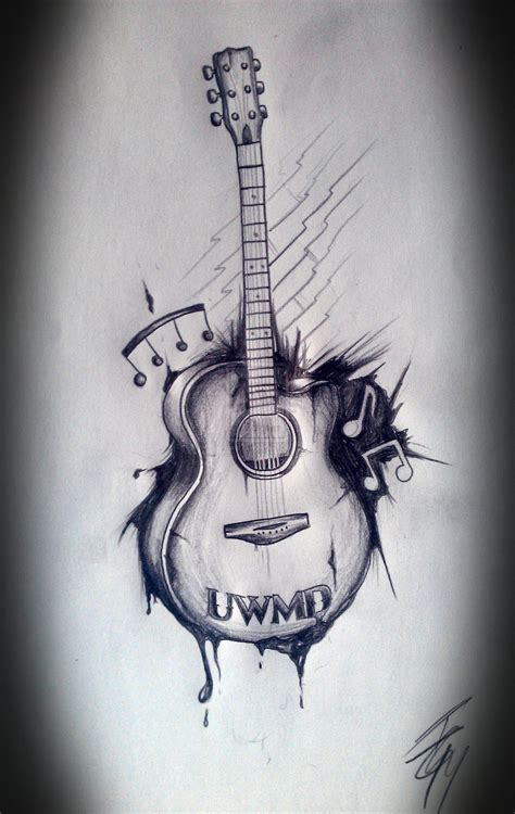 Images Of Acoustic Guitar Drawing Tattoo Golfclub