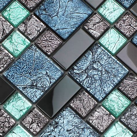 crystal glass tile backsplash black stainless steel