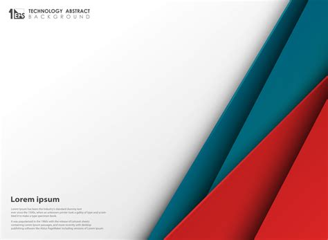 abstract technology blue red colors paper cut  white copy space background